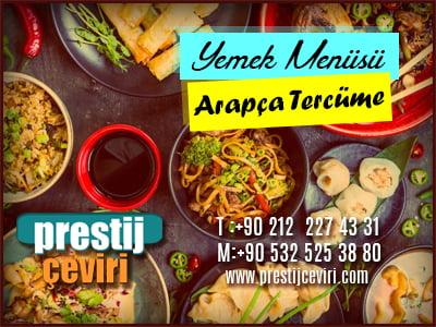 Arapça yemek menü tercümesi